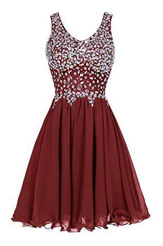 Homecoming Dress,Sexy Elegant Chiffon Homecoming Dress,Short Homecoming Party Dresses ,Beaded burgundy Prom Dress,Custom prom dresses, Formal Dresses, High Quality Party Dresses,High Quality Graduation Dress,Wedding Guest Dress