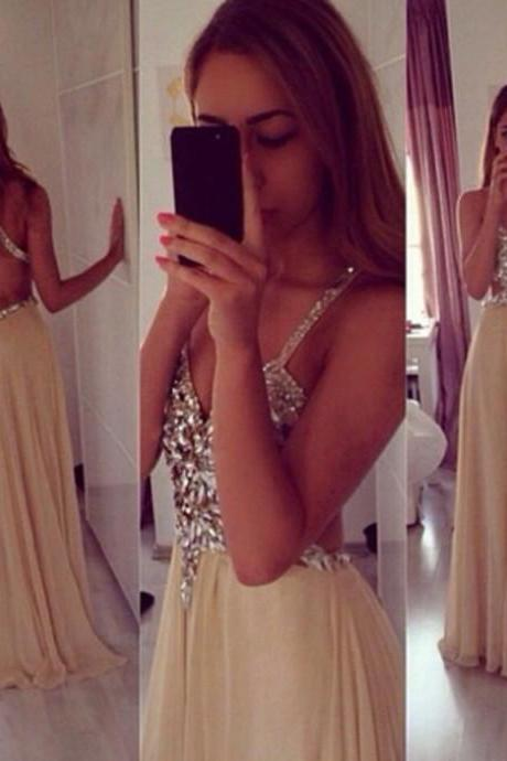 A-line V-neck Strap Long Chiffon Skirt Formal Dresses ,Crystal Beaded From Dresses, Sparkly Gowns