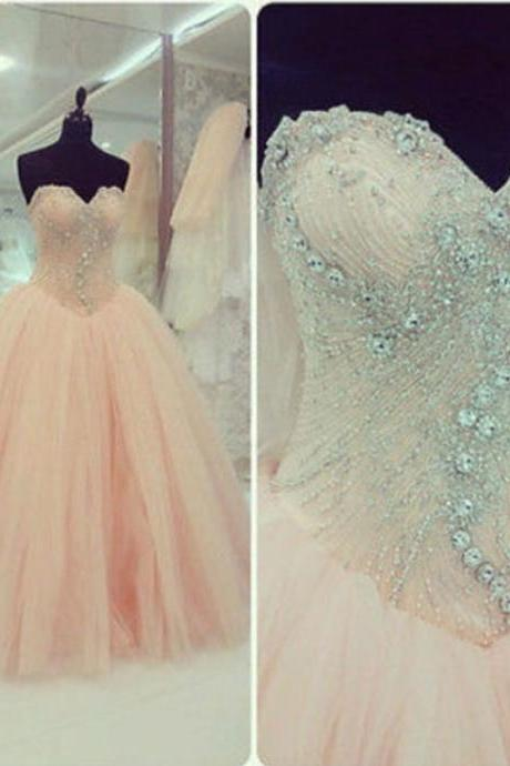 Real Iamge Picture Luxury Bling Sparkle Evening Prom Dresses, Ball Gown Sweetheart Prom Dress,Lace Up Crystals Beads Tulle Long Formal Prom Party Gowns