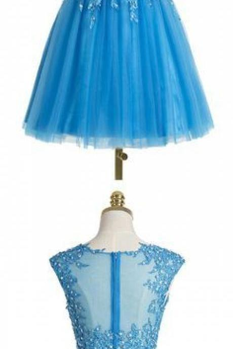 Two pieces Homecoming Dress,Blue Homecoming Dress,Popular Homecoming Dress, Junior Homecoming Dress with appliques,Graduation Dress , Homecoming Dress ,Prom Dress for Teens