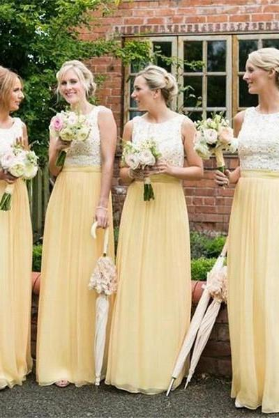 Long Bridesmaid Dresses, Yellow Bridesmaid Dresses ,Chiffon Bridesmaid Dresses ,Cheap Bridesmaid Dresses ,Sleeveless Bridesmaid Dresses ,Lace Top Bridesmaid Dresses , Simple Bridesmaid Dresses , Wedding Guest Dresses