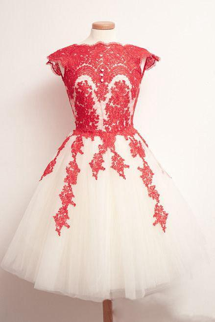 Red lace Homecoming Dress,Cap Sleeves Homecoming Dress,Tulle Homecoming Dress, Pretty Homecoming Dress,Junior Homecoming Dress with appliques,Graduation Dress , Homecoming Dress ,Prom Dress for Teens
