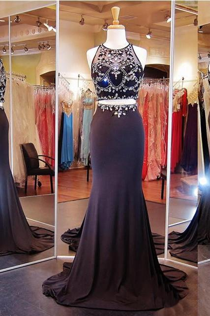 Two Pieces Prom Dress,Sparkly Prom Dress,New Arrival Prom Dress ,Mermaid Prom Dress,Party Prom Dresses ,Evening dresses, Prom Dresses,Long Prom Dress