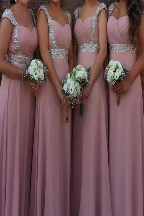 Chiffon Bridesmaid Dress,Charming Cheap Bridesmaid Dress,A-Line Pink Prom Dress,Long Bridesmaid Dress,Wedding Party Dresses,Bridesmaid Dresses,Custom Bridesmaid Dress