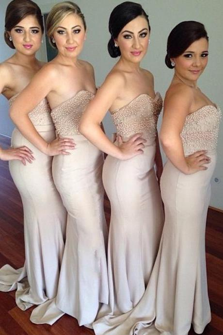 Custom Made Nude Sweetheart Neckline Mermaid Dress with Pearl Beading