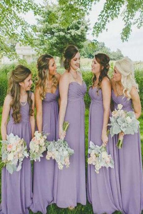 Chiffon Ruched Sweetheart Floor Length A-Line Bridesmaid Dress