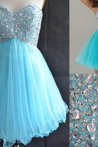 Blue Homecoming Dress,Tulle Homecoming Dresses,Sparkly Homecoming Gowns,Fashion Prom Gown,Crystals Homecoming Dresses,Parties Gowns,Evening Gowns,Homecoming Dress