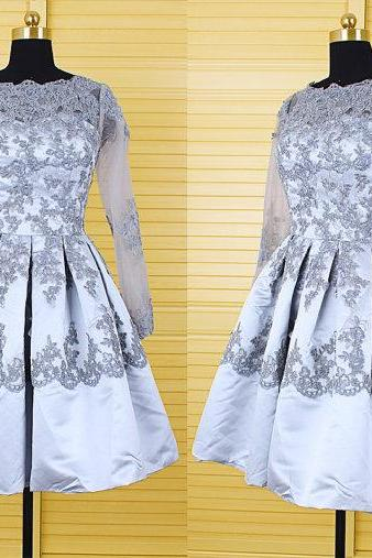 lace prom dress, short prom dress, gray prom dress, long sleeves prom dress , party prom dress, cheap homecoming dress