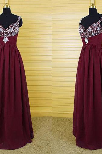 Beaded Embellished Sweetheart Shoulder Straps Burgundy Floor Length A-Line Formal Dress, Prom Dress