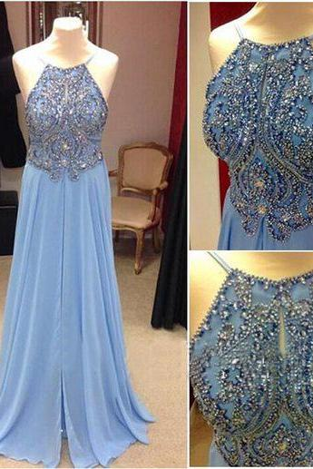long prom dress, blue prom dress, cheap prom dress, prom dress with beading, prom dress 2016, long evening dress, party prom dress,