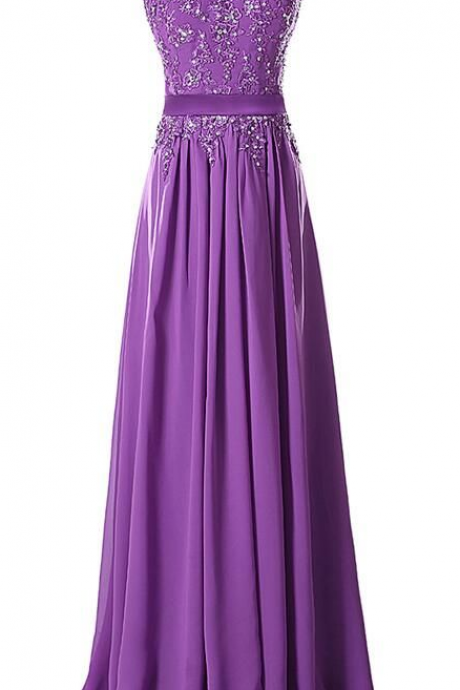 Aubergine Evening Dress , Aubergine Prom Dress, A line Appliques Chiffon Long Dress ,Girls Dress ,Women Dress ,Long Dresses , 2016 Evening Dresses ,Prom Dressses