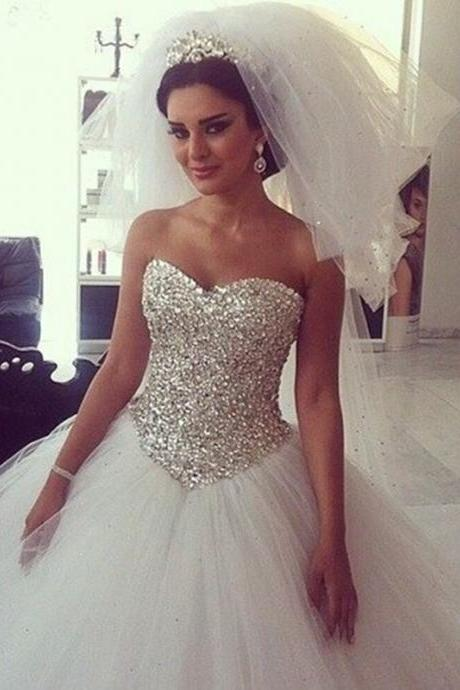Wedding Dress,Bling Crystal Sweetheart Princess Wedding Dresses,White Tulle Ball Gowns Bridal Dress Vestido De Noiva