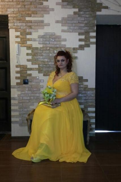 Cap Sleeve Prom Dress, Chiffon Empire Waist Prom Dresses,Yellow Beaded V Neck Party Gowns ,Custom Made Maternity Pregnant Evening formal Dresses, 2016 prom dress vestidos