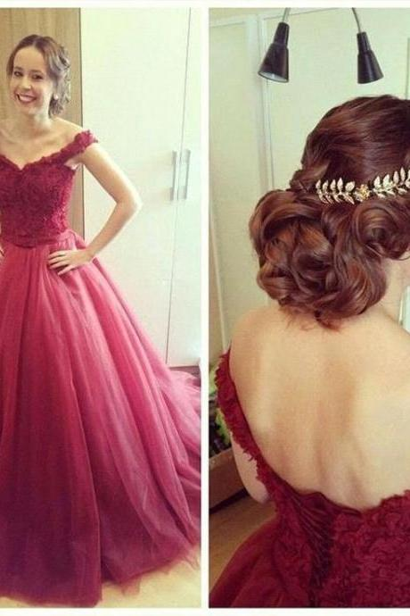 Graduation Dress,Sexy Off Shoulder Prom Dresses,Burgundy Ball Gown Graduation Dresses,Burgundy Tulle Prom Gowns