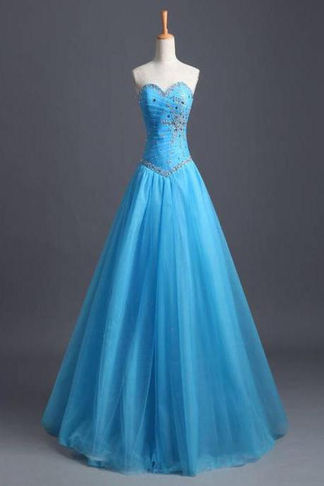 Long prom dress, sleeveless prom dresses,A-line prom dress,sweetheart prom dress,blue prom dress,evening prom dress,party prom dress,prom dress