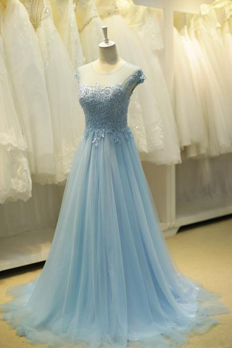 Prom Dress,Elegant Prom Dresses, A line Blue Evening Dress, Beaded Prom Dress, Wedding Guest Dress, Bridesmaid Dress