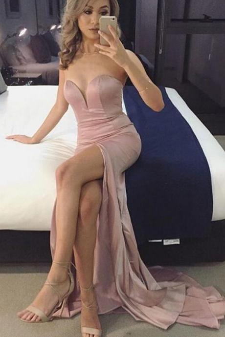 Custom Made Plunging Sweetheart Neckline Mermaid Satin High Split Evening Dress, Formal Dress, Prom Dress