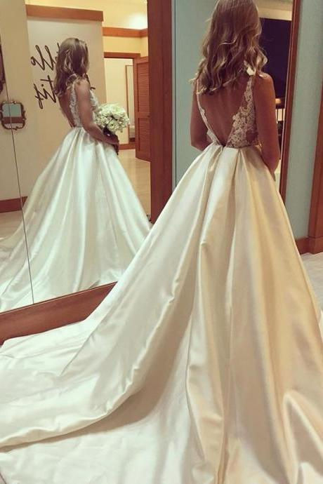 Wedding Dresses, Wedding bridal Gown,Princess Wedding Dresses elegant lace appliques open back satin ball gowns wedding dresses