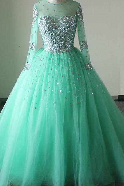 New Arrival Prom Dress,Modest Prom Dresses,Sparkly mint green prom dresses,long sleeves prom dress,ball gown quinceanera dress