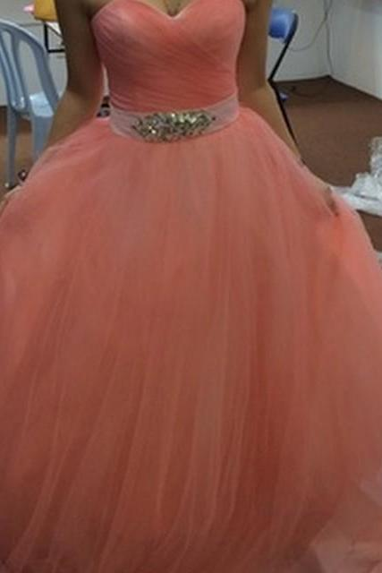 Prom Dress, New Arrival Prom Dresses,Modest Prom Dress,elegant pleated sweetheart crystal beaded sashes coral ball gowns prom dress, Ball Gowns Prom Dresses