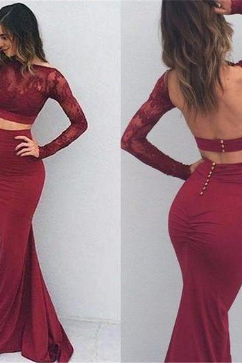 Prom Dress, Burgundy Sexy Prom Dresses,Two Pieces Prom Dresses,Backless Prom Dresses,Long Sleeves Prom Dresses,Classy Prom Gowns