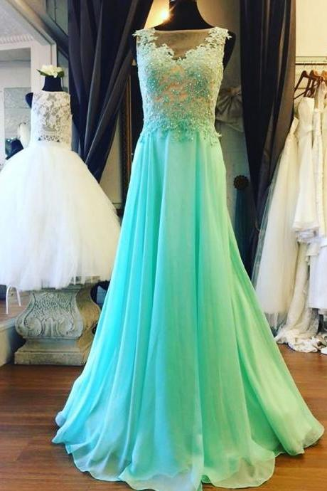 Prom Dresses,Prom Dress,Mint Green Illusion Sheer Back Prom Dress , Formal Gown With Lace Appliques,Cute Cocktail Dress, Formal Occasion Dresses,Formal Dress
