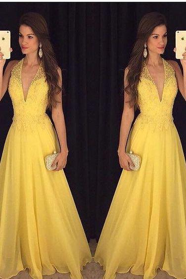 Prom Dress,Sexy V neck Prom Dresses,Backless Prom Gown,Open Back Evening Dress,Backless Prom Dress,Evening Gowns,Yellow Formal Dress,Wedding Guest Prom Gowns, Formal Occasion Dresses,Formal Dress