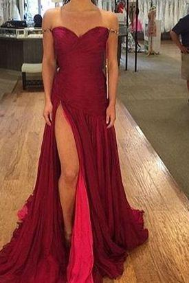 Red Formal Dress,Sexy New Arrival Prom Dress,Burgundy prom dress, sweetheart long evening dresses,chic formal dress with slit,fashion dress for woman,Wedding Guest Prom Gowns, Formal Occasion Dresses,Formal Dress