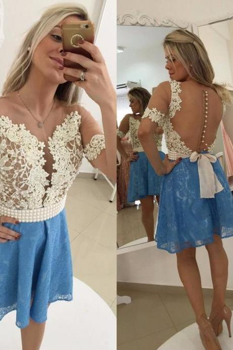 Blue Homecoming Dress,Straps Homecoming Dresses,Homecoming Gowns,Backless Party Dress,Short Prom Gown,Sweet 16 Dress,Homecoming Gowns,Wedding Guest Prom Gowns, Formal Occasion Dresses,Formal Dress