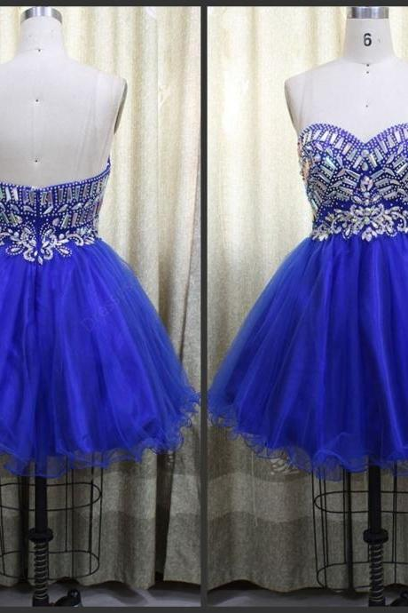 Homecoming Dress,Tulle Homecoming Dress,Cute Homecoming Dress,Homecoming Dress,Short Prom Dress,Royal Blue Homecoming Gowns,Beaded Sweet 16 Dress, Party Dress,Wedding Guest Prom Gowns, Formal Occasion Dresses,Formal Dress