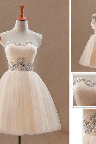 Lovely Champagne Ball Gown Mini Tulle Party Dresses, Cute Prom Gown, Homecoming Dresses, Prom Dress , Party Dress,Wedding Guest Prom Gowns, Formal Occasion Dresses,Formal Dress