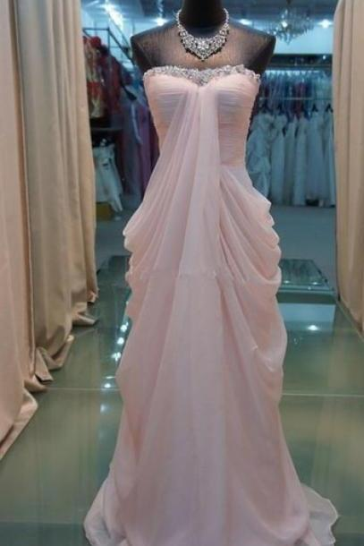 Sexy Prom Dress,Custom Made Light Pink Chiffon Floor Length Prom Dresses, New Style Prom Dresses ,Pink Prom Dress, Prom Gown, Bridesmaid Dreses, Formal Dresses, Party Dress,Wedding Guest Prom Gowns, Formal Occasion Dresses,Formal Dress