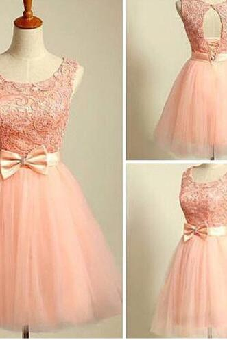 Lovely Blush Pink Short Ball Gwon Tulle Prom Dresses with Lace and Bow, Homecoming Dresses , Winter formal Dresses, Graduation Dresses, Graduation Dresses, Party Dress,Wedding Guest Prom Gowns, Formal Occasion Dresses,Formal Dress