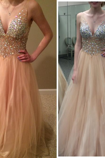 Charming Graduation DreCharming Prom Dress,V-Neck Prom Dress,A-Line Prom Dress,Sequined Prom Dress,Tulle Prom Dress Homecoming Dress,Wedding Guest Prom Gowns, Formal Occasion Dresses,Formal Dress