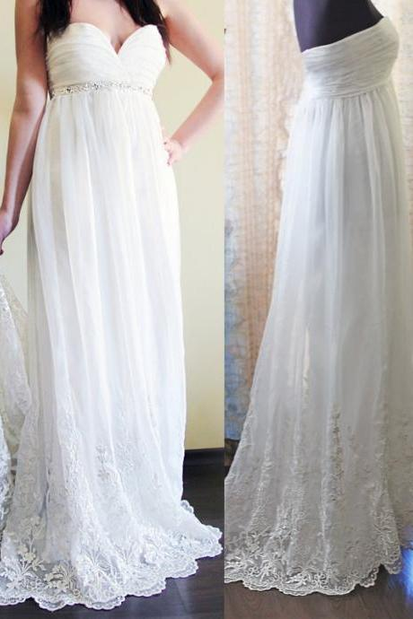 Romantic Wedding Dress,Chiffon Wedding Dresses,Lace Wedding Dress,Sweetheart Prom bridal Dress,Wedding Guest Prom Gowns, Formal Occasion Dresses,Formal Dress
