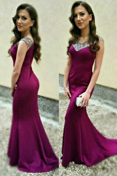 Charming Prom Dress,Satin Prom Dress,Mermaid Prom Dresses,Beading Evening Dress,Wedding Guest Prom Gowns, Formal Occasion Dresses,Formal Dress