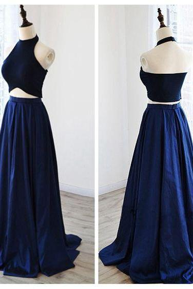 Charming Prom Dress,2 Pieces Prom Dress,Halter Prom Dresses,Satin Evening Dress,Wedding Guest Prom Gowns, Formal Occasion Dresses,Formal Dress
