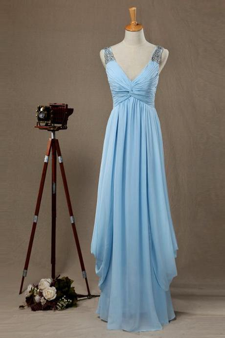 Prom Dress,Sexy Evening Gowns Light Blue V Neck Sleeveless Draped Bodice Long Party Dress , Bridesmaid Dress With Straps, Formal Occasion Dresses,Formal Dress, Long Formal Dresses,Wedding Guest Prom Gowns, Formal Occasion Dresses,Formal Dress