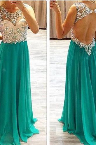 Prom Dress, Beaded Open Back Prom Dress,Sexy Evening Party Dress,Formal Green Beaded Occasion Dress,Open Back Party Dress,Wedding Guest Prom Gowns, Formal Occasion Dresses,Formal Dress