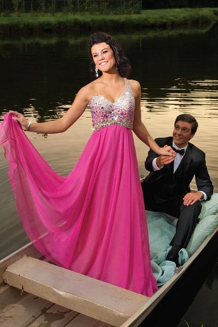 Prom Dress, SexyLong Prom Dresses With One Shoulder Crystals A-Line Fuchsia Chiffon Sweep Train Formal Party Gowns Pageant Dress ,Elegant Evening Dress,Party Dress,Wedding Guest Prom Gowns, Formal Occasion Dresses,Formal Dress