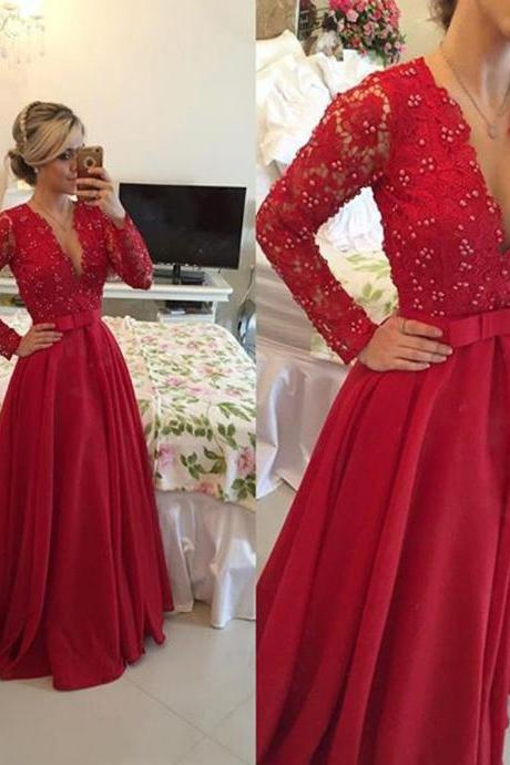 Red Formal Dress, Evening Dress,Long Evening Dresses,Formal Dress,Red Formal Gown,Women Dress,Red Prom Gowns,Lace long sleeves prom gown,Elegant Evening Dress,Party Dress,Wedding Guest Prom Gowns, Formal Occasion Dresses,Formal Dress