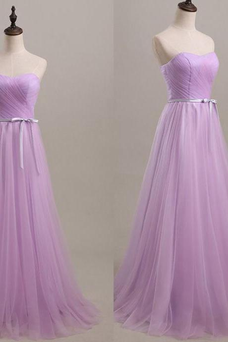 Floor Length Sweetheart Lilac Ruched Tulle Prom Gown with Bow Accent ,Party Dress,Wedding Guest Prom Gowns, Formal Occasion Dresses,Formal Dress