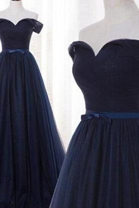 Prom Dress, Navy Blue Prom Dress,Pretty Prom Dresses,Tulle Bridesmaid Gown,Simple Bridesmaid Dress,off the shoulder Evening Dresses,Tulle Wedding Gowns,Dark Navy Bridesmaid Dresses,Wedding Guest Prom Gowns, Formal Occasion Dresses,Formal Dress,Graduation Dresses,Wedding Guest Prom Gowns, Formal Occasion Dresses,Formal Dress