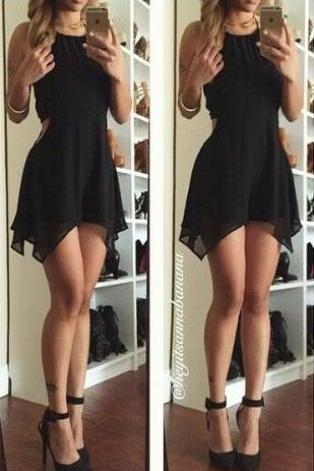 Little Black Homecoming Dress,Chiffon Prom Dress,Sexy Halter Homecoming Dress,backless for summer party, Women Dresses, Formal Gowns, Prom Dresses,Graduation Dresses,Wedding Guest Prom Gowns, Formal Occasion Dresses,Formal Dress