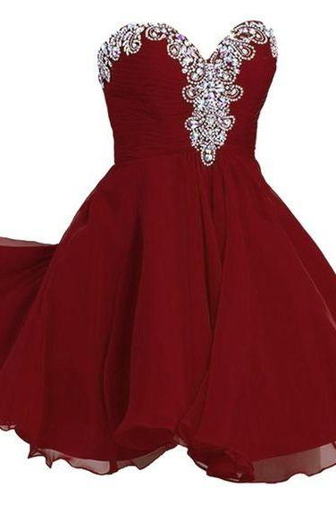 Women's A-line, Sweetheart, Short, Chiffon, Rhinestone, Homecoming dress, red homecoming dresses, short chiffon dress, short homecoming dresses,Wedding Guest Prom Gowns, Formal Occasion Dresses,Formal Dress