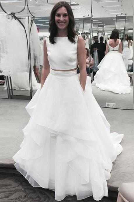 Prom Dress, 2 Piece Prom Gowns,Two Piece Prom Dresses,Open Backs Prom Dresses,White Prom Dresses,Sexy Two Pieces Formal Gowns,Ruffles Party Dresses,Wedding Guest Prom Gowns, Formal Occasion Dresses,Formal Dress