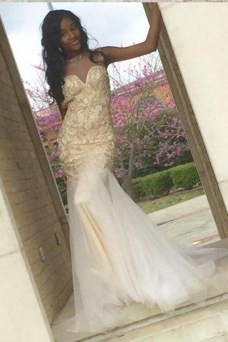 Prom Dress, Sexy Sleeveless Open Back Gold Beaded Mermaid Evening Dresses Formal Cocktail Party Dresses,Wedding Guest Prom Gowns, Formal Occasion Dresses,Formal Dress