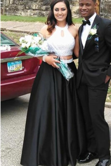 White Top Black Beading Long Prom Dresses,Evening Dresses,Handmade Beading A-line Prom Dress,Mdest Prom Gowns,Wedding Guest Prom Gowns, Formal Occasion Dresses,Formal Dress