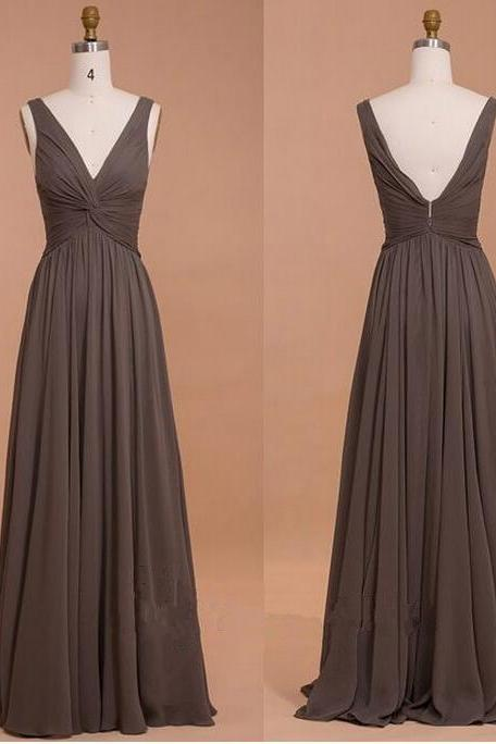 Chocolate Deep V Neck Prom Dress Draped Bodice Chiffon Bridesmaid Dress With V Back,Wedding Guest Prom Gowns, Formal Occasion Dresses,Formal Dress