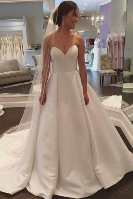 White Sweetheart Satin Wedding Dress, Simple and Claasic Formal Bridal Gowns Women Party Wedding Dresses,Wedding Guest Prom Gowns, Formal Occasion Dresses,Formal Dress